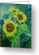 Sunflower Studio Art Greeting Cards - Sunflowers Colorful Sunflower Art of Original Watercolor Greeting Card by K Joann Russell