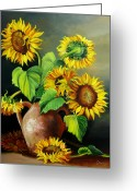Dominica Alcantara Greeting Cards - Sunflowers Greeting Card by Dominica Alcantara