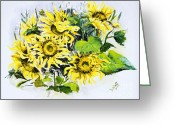 Flower Still Life Prints Painting Greeting Cards - Sunflowers Greeting Card by Elisabeta Hermann