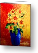 Carolinestreet Greeting Cards - Sunflowers in Blue Vase Greeting Card by Caroline Street