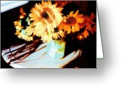 Ocean Art Greeting Cards - Sunflowers in the Sun Overlooking the Sea Greeting Card by Ocean