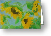 Sunflower Studio Art Greeting Cards - Sunflowers in the Wind 2 Greeting Card by K Joann Russell