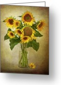 Head Greeting Cards - Sunflowers In Vase Greeting Card by © Leslie Nicole Photographic Art