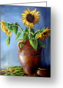 Cuban Painter Greeting Cards - Sunflowers in Vase Greeting Card by Dominica Alcantara