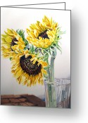 Valentine Greeting Cards - Sunflowers Greeting Card by Irina Sztukowski