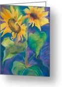 Flowers Pastels Greeting Cards - Sunflowers ll Greeting Card by Kate Bedell