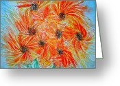 Orange Reliefs Greeting Cards - Sunflowers Greeting Card by Marie Halter