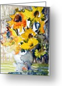 Gold Mixed Media Greeting Cards - Sunflowers Greeting Card by Mindy Newman