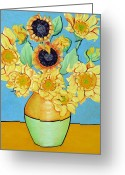 Christine Belt Greeting Cards - Sunflowers Tribute to Vincent van Gogh II Greeting Card by Christine Belt