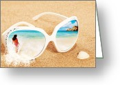 Beaches Greeting Cards - Sunglasses In The Sand Greeting Card by Christopher Elwell and Amanda Haselock