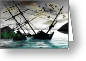 Shipwreck Greeting Cards - Sunk Greeting Card by Monroe Snook