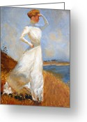 White Dress Drawings Greeting Cards - Sunlight after Frank Benson Greeting Card by John OBrien
