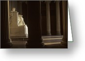 Lincoln Memorial Photo Greeting Cards - Sunlight Illuminates Lincolns Statue Greeting Card by Kenneth Garrett