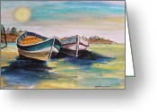 At Work Drawings Greeting Cards - Sunlight on Flat Water Greeting Card by John  Williams