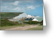 Seven Digital Art Greeting Cards - Sunlight on the Seven Sisters Greeting Card by Donald Davis