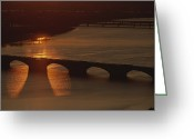 Arlington Memorial Bridge Greeting Cards - Sunlight Reflects Off The Potomac Greeting Card by Sisse Brimberg