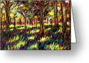 Grass Pastels Greeting Cards - Sunlight Through The Trees Greeting Card by John  Nolan