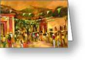White And Green Greeting Cards - Sunlit Market Greeting Card by Joan  Jones