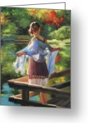Backlit Painting Greeting Cards - Sunlit Porch Greeting Card by Anna Bain