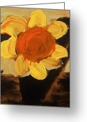 Outsider Art Drawings Greeting Cards - Sunny and Black Greeting Card by Mary Carol Williams