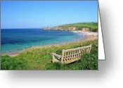Bench Greeting Cards - Sunny Day At Thurlestone Beach Greeting Card by Photo by Andrew Boxall