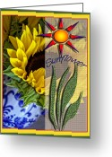 Pitcher Greeting Cards - Sunny Days Greeting Card by Bonnie Bruno