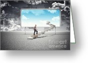 Stair Walk Greeting Cards - Sunny Future Greeting Card by Gualtiero Boffi