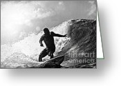 Surf Silhouette Greeting Cards - Sunny Garcia in Black and White Greeting Card by Paul Topp