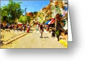 Johnny Trippick Greeting Cards - Sunny Spanish Street Greeting Card by Johnny Trippick