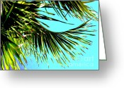 Palm Leaf Greeting Cards - Sunny Tropical Afternoon Greeting Card by Ann Powell