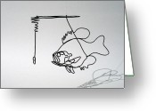 Fishing Sculpture Greeting Cards - Sunny under a Lily Pad Greeting Card by Bud Bullivant