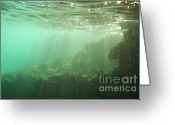 Bartolome Greeting Cards - Sunrays penetrating underwater cave Greeting Card by Sami Sarkis