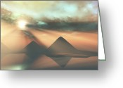 Tutankhamen Greeting Cards - Sunrays Shine Down On Three Pyramids Greeting Card by Corey Ford