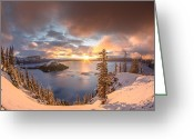 Cascades Greeting Cards - Sunrise after Summer Snowfall Greeting Card by Greg Nyquist