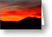 Rocky Mountains Greeting Cards - Sunrise Against Mountain Skyline Greeting Card by Max Allen