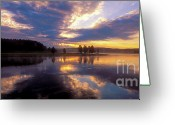 Purple Clouds Greeting Cards - Sunrise and Storm in Yellowstone Greeting Card by Sandra Bronstein