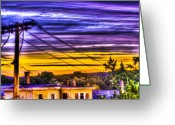 Telephone Pole Greeting Cards - Sunrise Greeting Card by Andrew Kubica