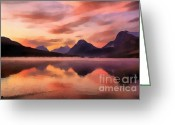 National Digital Art Greeting Cards - Sunrise at Bow Lake Greeting Card by Teresa Zieba