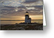 New England Lighthouse Greeting Cards - Sunrise at Brant Point Nantucket Greeting Card by Henry Krauzyk