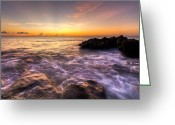 Florida Bridge Greeting Cards - Sunrise at Coral Cove Greeting Card by Debra and Dave Vanderlaan