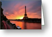 Silhouette Greeting Cards - Sunrise At Eiffel Tower Greeting Card by © Yannick Lefevre - Photography