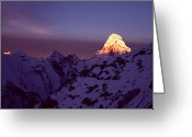 Snowcapped Greeting Cards - Sunrise At Mt. Ama Dablam Greeting Card by Pal Teravagimov Photography