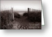 Path Greeting Cards - Sunrise at Myrtle Beach SC Greeting Card by Susanne Van Hulst