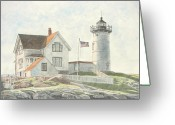 York Maine Greeting Cards - Sunrise at Nubble Light Greeting Card by Dominic White