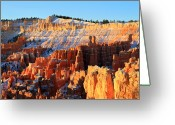 November Sunset Greeting Cards - Sunrise at Sunset point in Bryce Canyon Greeting Card by Pierre Leclerc
