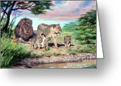 Lions Painting Greeting Cards - Sunrise at the Oasis Greeting Card by David Lloyd Glover