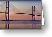 Intercoastal Greeting Cards - Sunrise at the Sidney Lanier Bridge Greeting Card by Farol Tomson