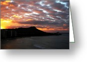 Los Angeles Pyrography Greeting Cards - Sunrise Diamond Head I Greeting Card by Russell Jenkins