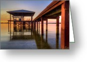 Florida Bridge Greeting Cards - Sunrise Dock Greeting Card by Debra and Dave Vanderlaan