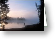 Mature Adult Greeting Cards - Sunrise Fishing In The Yellowstone River Greeting Card by Michael S. Lewis